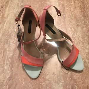 Zara sexy dusty rose and teal heels